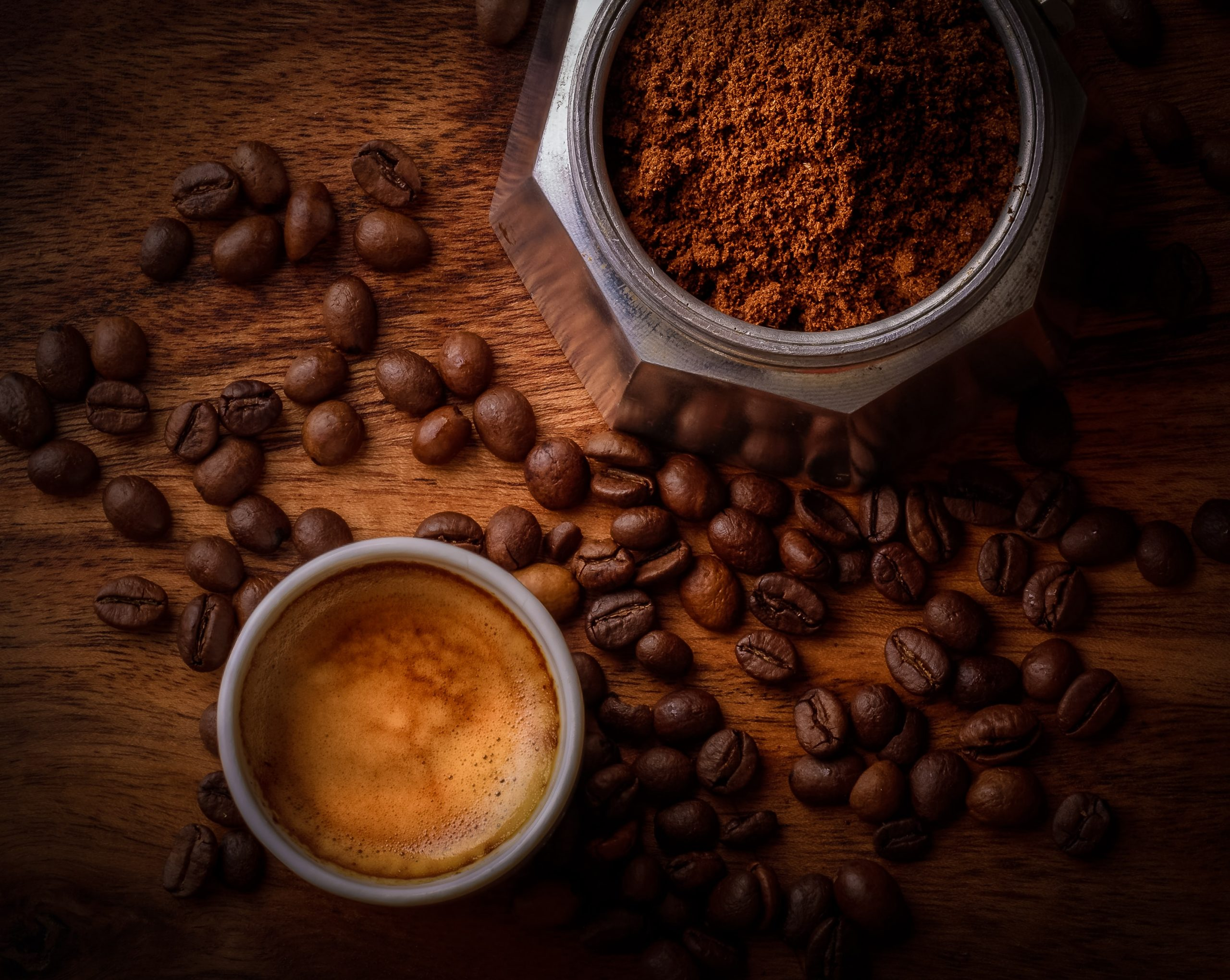 coffee in cup, beans and ground