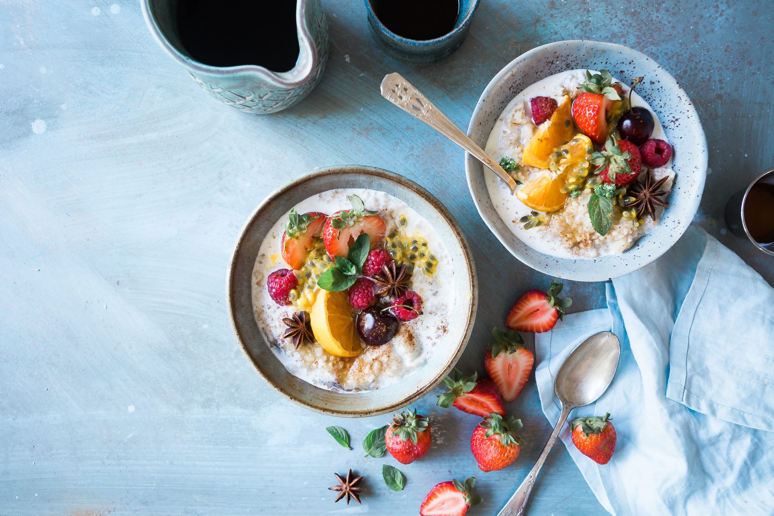 bowls of fruit and healthy food